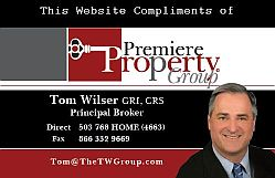 This website provided by Tom Wilser, Broker Premiere PropertyGroup